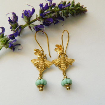 Gold Bee Charm Dangles with Vintage German Glass Beads