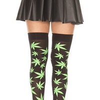 Green Marijuana Leaves Black Thigh High