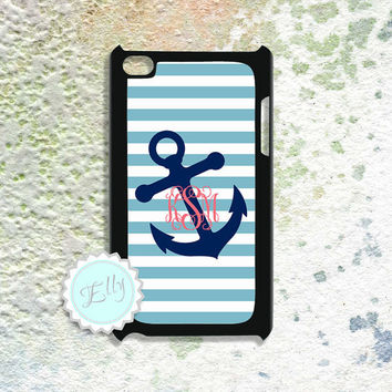 Anchor IPod Touch 4 monogrammed case nautical  preppy blue stripes - monogram hard cover