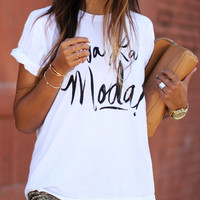 White Round Neck Letter Print Loose T-Shirt -SheIn(Sheinside)