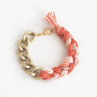 Coral bracelet with chain, chunky chain bracelet, coral braid bracelet, arm candy, boho bracelet