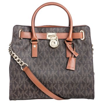 Michael Kors Hamilton Traveler Brown Large Tote Bag (35F6GHXT7B)