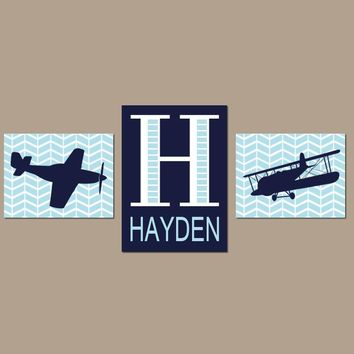 AIRPLANE Wall Art, Baby Boy Nursery Decor, PLANE Decor, AVIATION Theme Pictures, Personalized Boy Name Initial, Big Boy Bedroom Set of 3