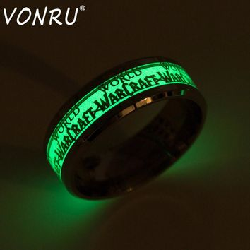 VONRU Unisex Fluorescent Luminous Ring Men World of Warcraft Glow In The Dark Rings for Women Hip Hop Male Ring Anillos