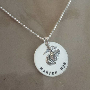 SALE! Marine Mom - United States Marine Corps - Hand Stamped Sterling Silver Necklace (Official Hobbyist of the USMC)