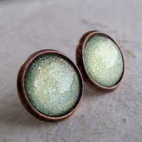 Pale Green Post Earrings - Antiqued Copper - Sparkling Glitter Earrings
