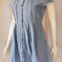 90s Denim Button Down Dress | Denim Short Sleeve Mini Dress, Clueless Blue Jean Dress Size S