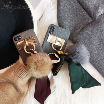 Newest Korea Retro Chic Silk Bowknot Rabbit Fur ball Case for iphone X 8 7 8/7plus Soft Cloth Shell for iphone 6 6s 6/6sPlus