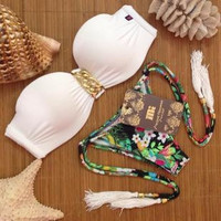 SIMPLE - Floral Floral Swimwear Bikini Set b1991