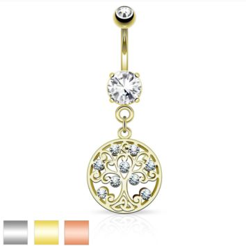 CZ Tree of Life Dangle on Round CZ Prong set 316L Surgical Steel Belly Button Rings