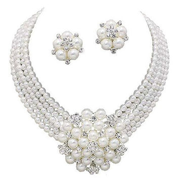 Statement Look White Pearl Cluster Bridal Necklace Set CLIP ON Earring Silver Tone Z2