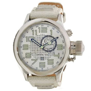 Invicta 10553 Men's Russian Diver Silver Dial Distressed Leather Strap GMT Watch