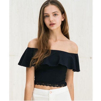 Summer Lace Off Shoulder Boat Neckline Sexy Erotic