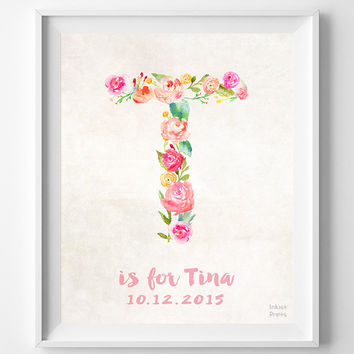 Personalized, Print, Tina, Custom Name, Nursery Art, Baby Shower, Baby Room, Taylor, Tiffany, Teresa, Gift, T, Baby, Initial, Girl