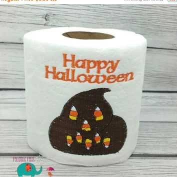 On Sale 15% Off Happy Halloween embroidered toilet paper, halloween, gag gift, white elephant gift, bathroom decoration, holiday