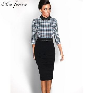 Nice-forever Elegant 3/4 Sleeve Vintage Office dress Patchwork Green Plaid Turn-down Collar Business Pencil Bodycon Dress b16