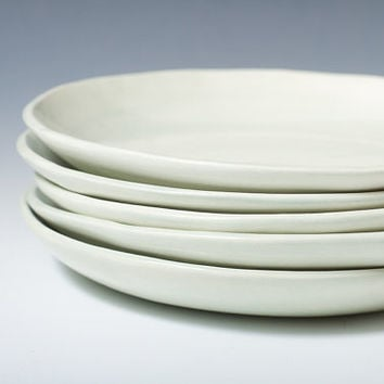 Handmade Celadon ceramic pottery plates, 8.75 inches wide - green / blue handmade modern plates - ready to ship