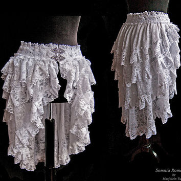 Bustle skirt white lace, IN STOCK, S-XS, victorian, burlesque, bridal, wedding, Somnia Romantica by Marjolein Turin