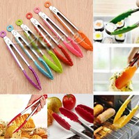 Barbecue Utensil Silicone Kitchen Cooking Salad Serving BBQ Tongs Stainless Steel Handle Utensil random color #K400Y#