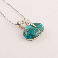 Blue Copper Turquoise Sterling Pendant - keja Jewelry