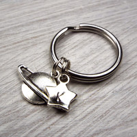 Planet Saturn Keychain with Hand Stamped Initial