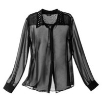 Mossimo® Women's Longsleeve Blouse w/ Studded Collar -Black