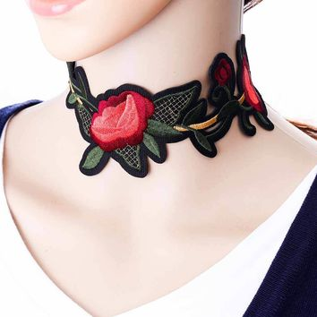 Bohemian embroidery Flower Choker Necklace for Women Steam punk Maxi Necklace Tattoo Jewelry collar Gifts