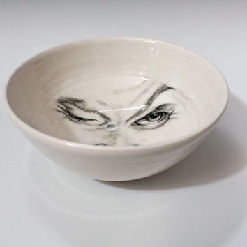 White Porcelain Bowl, Man in the Moon Bowl, Porcelain Decorative Bowl, White Bowl with hand drawn face