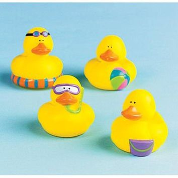 One Dozen (12) Mini BEACH Rubber Duckie Ducky Duck Party Favors