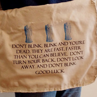 Weeping Angels Don't Blink Bag. Don't Blink Messenger Bag. Doctor Who Inspired.