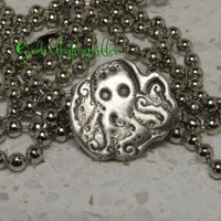 Octopus Stamped Fine Silver Pendant PMC3 284