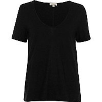Black scoop V-neck relaxed T-shirt