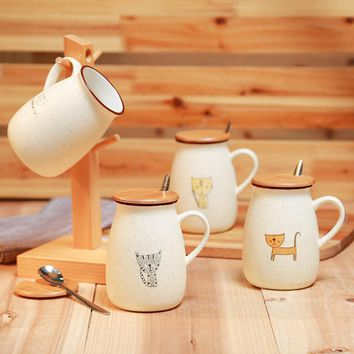 Travel Cat Coffee Wooden Lid Handle Spoon Drinking Mug