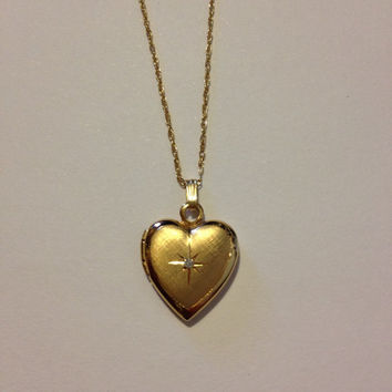 "14K Diamond Heart Locket Necklace 18.5"" Pendant Yellow Gold New NIBboxed Vintage Jewelry Mother's Birthday Graduation Anniversary Gift Love"