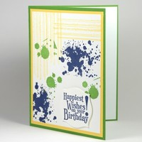 Happiest Birthday Wishes Green Yellow Navy Grunge Style Handmade Card | cardsbylibe - Cards on ArtFire