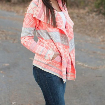 Pink Turn-Down Collar Long Sleeve Printed Cardigan