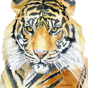 Tiger Watercolor Painting - 8 x 10 - Giclee Fine Art Print - African Animal - Animal Painting