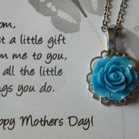 Mothers Day Necklace, Rose Pendant Chain, Mothers Day Gift, Rose Filigree Necklace Blue, Personalized Gift For Mom
