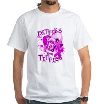 Pitties for Titties White T-Shirt> Pitties for Titties> People & Pets...
