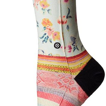 Stance Women's Lima Lights Floral Stripe Arch Support Tomboy Crew Sock