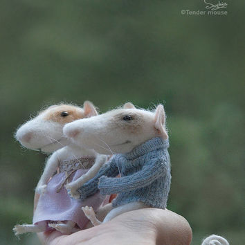 Needle mouse, felted mouse, felt mouse,family mouse, mice couple,felted miniature,needle animal,soft figurine,tender mouse -READY TO SHIP