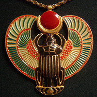 Goddess Egyptian Scarab Winged Beetle Stunning&Colorful Golden Mint Green Red Dark/Blue Enamel Lovely Detailed Pendant Chain Necklace 64.6g