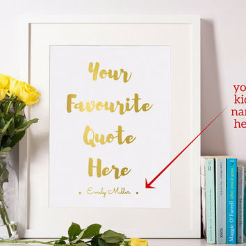 Personalized Baby Gift, Custom Nursery Quote Print, Personalized Nursery Decor, Baby Room Sign, Girl's Room Custom Name Poster 8x10 A4