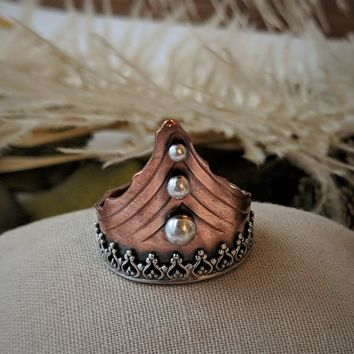 Artisan Crafted Unique Copper Sterling Silver Ring Size 8
