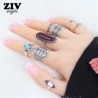 8PCS Bohemian Vintage Tiger Eye Stone Rings Set Women Ethnic Antique Silver/Gold Retro Ring