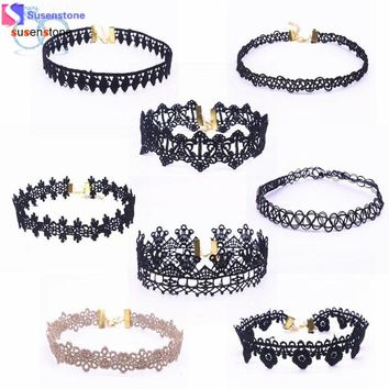 SUSENSTONE 8 Pieces Choker Necklace Set Stretch Velvet Classic Gothic Tattoo Lace Choker #6-7