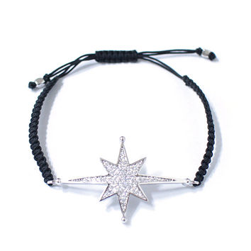 Black cord bracelets with Silver played satr pendant fashion accessory