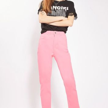 MOTO Pink Raw Hem Straight Leg Jeans - New In This Week - New In