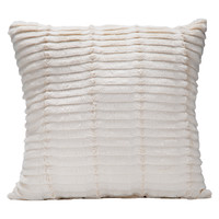 Faux Fur/Suede Reversible Pillow, Ivory, 18""