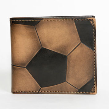 Leather Wallet - Men's Wallet - SOCCER Embossed Leather Bifold Wallet